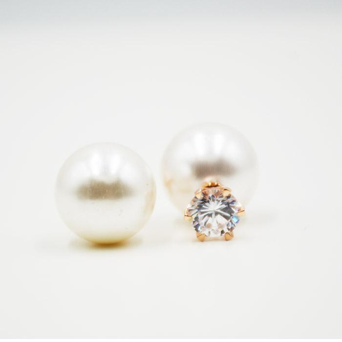 Σκουλαρίκια με μαργαριτάρι και ζιργκόν Swarovski διπλής όψεως