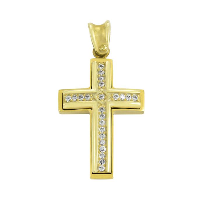 Σταυρός βάπτισης χρυσός με ζιργκόν