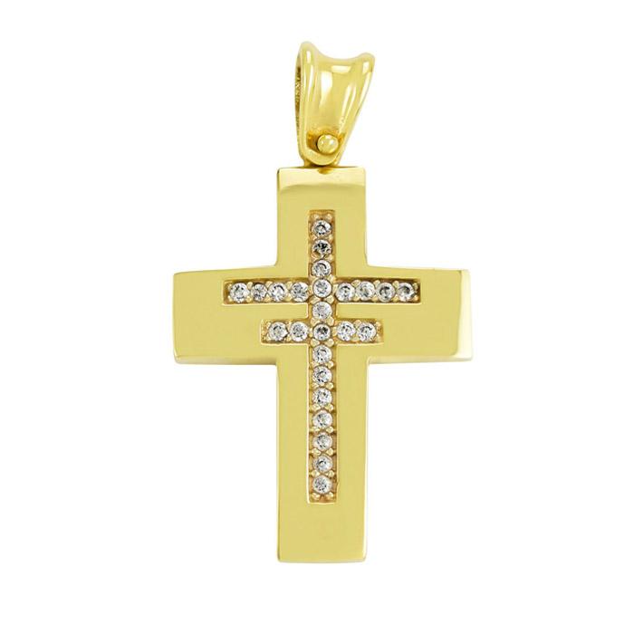 Σταυρός με ζιργκόν χρυσός