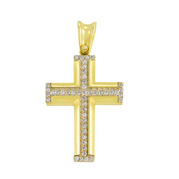 Σταυρός βάπτισης με ζιργκόν σε κίτρινο χρυσό