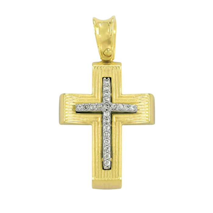 Σταυρός βάπτισης σε χρυσό με ζιργκόν υψηλής αισθητικής