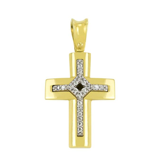 Σταυρός με ζιργκόν σε χρυσό
