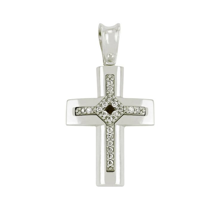 Λευκόχρυσος σταυρός με ζιργκόν για δώρο