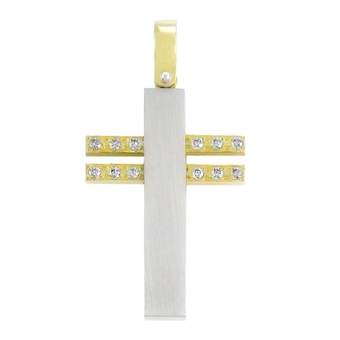 Σταυρός βαπτισης σε λευκόχρυσο και κίτρινο χρυσό