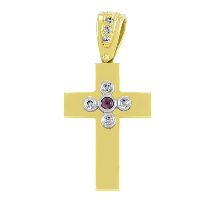 Χρυσός σταυρός βάπτισης με αμέθυστο και ζιργκόν