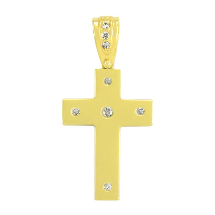 Σταυρός βάπτισης σε κίτρινο χρυσό με ζιργκόν