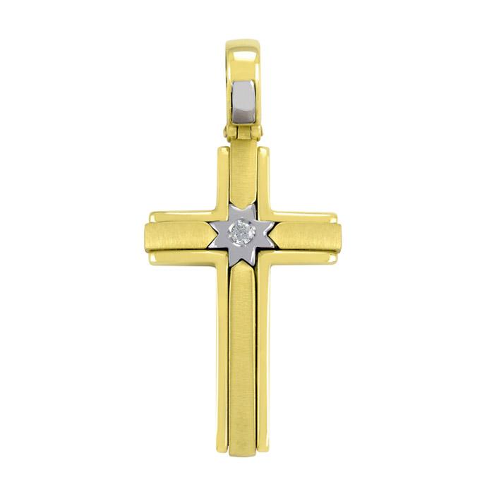 Χρυσός σταυρός διακοσμημένος με ζιργκόν για κορίτσι