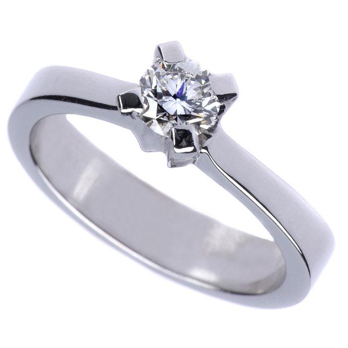 Μονόπετρο δαχτυλίδι λευκόχρυσο με μπριγιάν