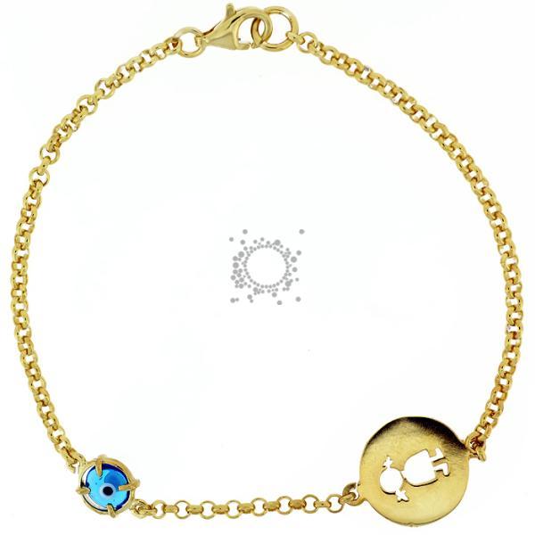 Βραχιόλι με ματάκι μουράνο κοριτσάκι χρυσό σε ασήμι.