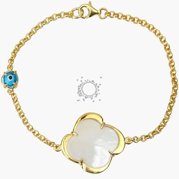 Κοσμήματα βραχιόλια επίχρυσο με ματάκι μουράνο και φίλντισι