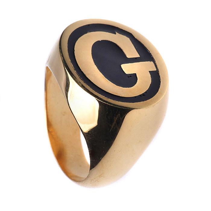 Ασημένιο δαχτυλίδι Gucci με μαύρο σμάλτο