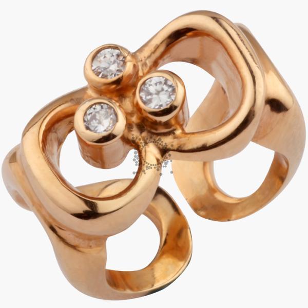 Σεβαλιέ δαχτυλίδι ασημένιο με ρόζ επίχρυσο με zircon swarovski