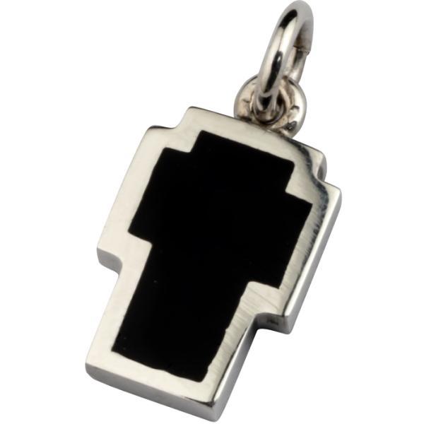Σταυρός ασημένιος χειροποίητος με μαύρο σμάλτο.