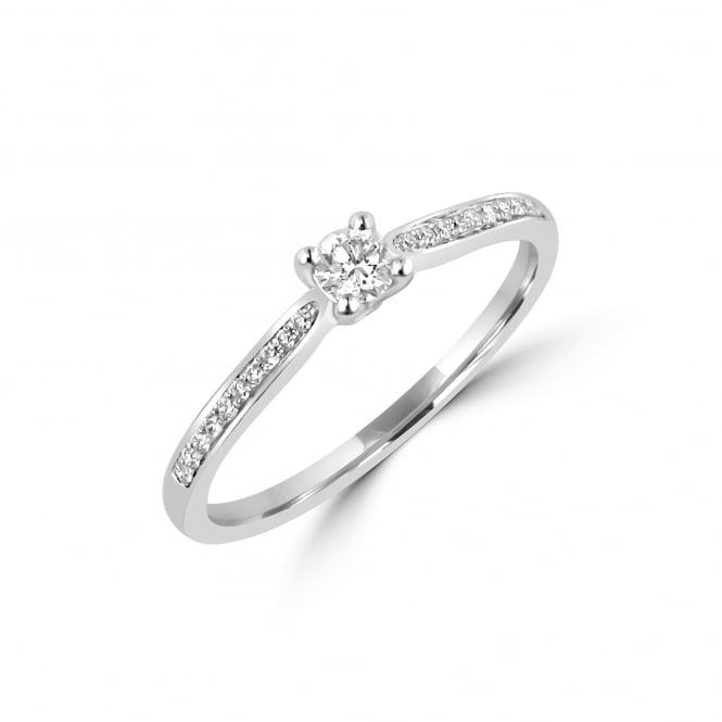 Μονόπετρo δαχτυλίδι λευκόχρυσο
