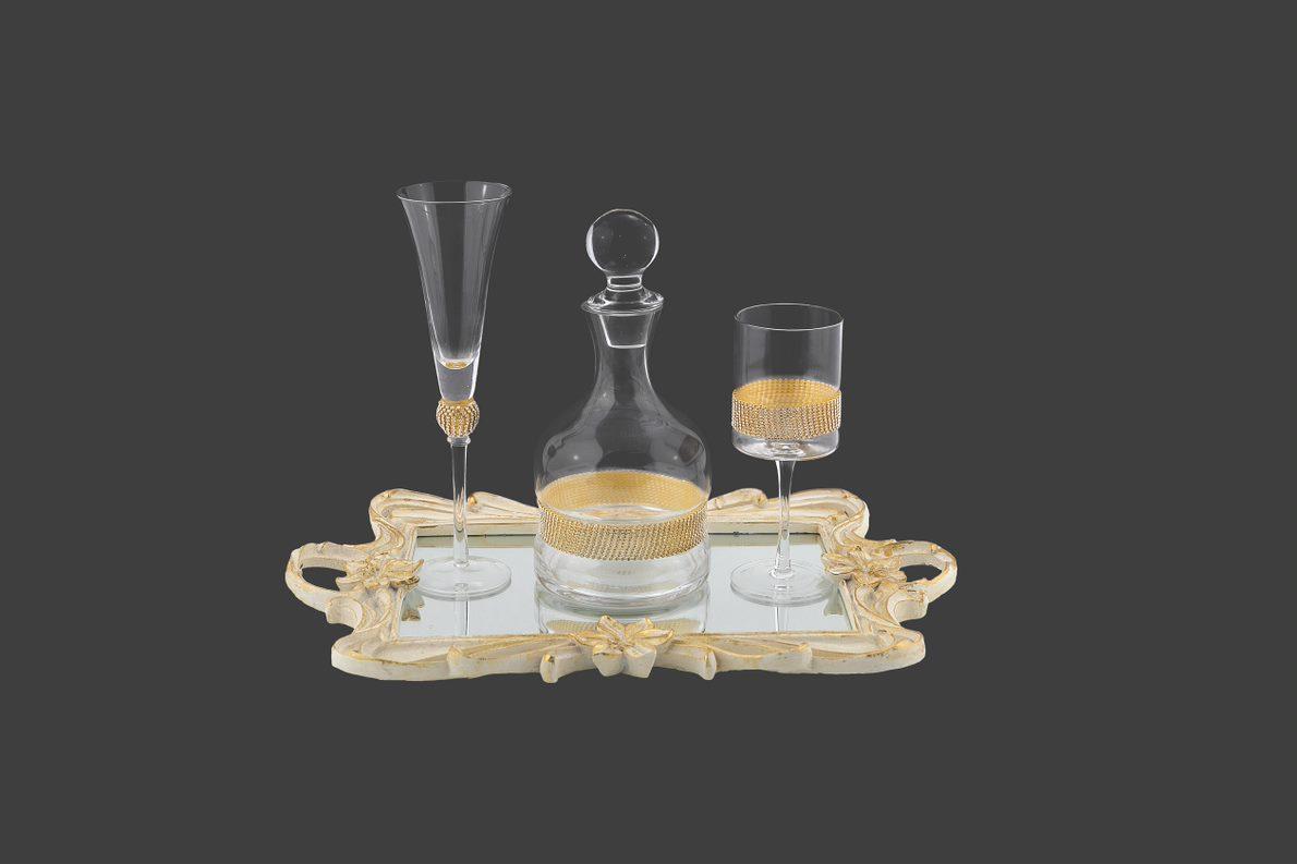 Σετ γάμου καράφα ποτήρι κρασιού και σαμπάνιας
