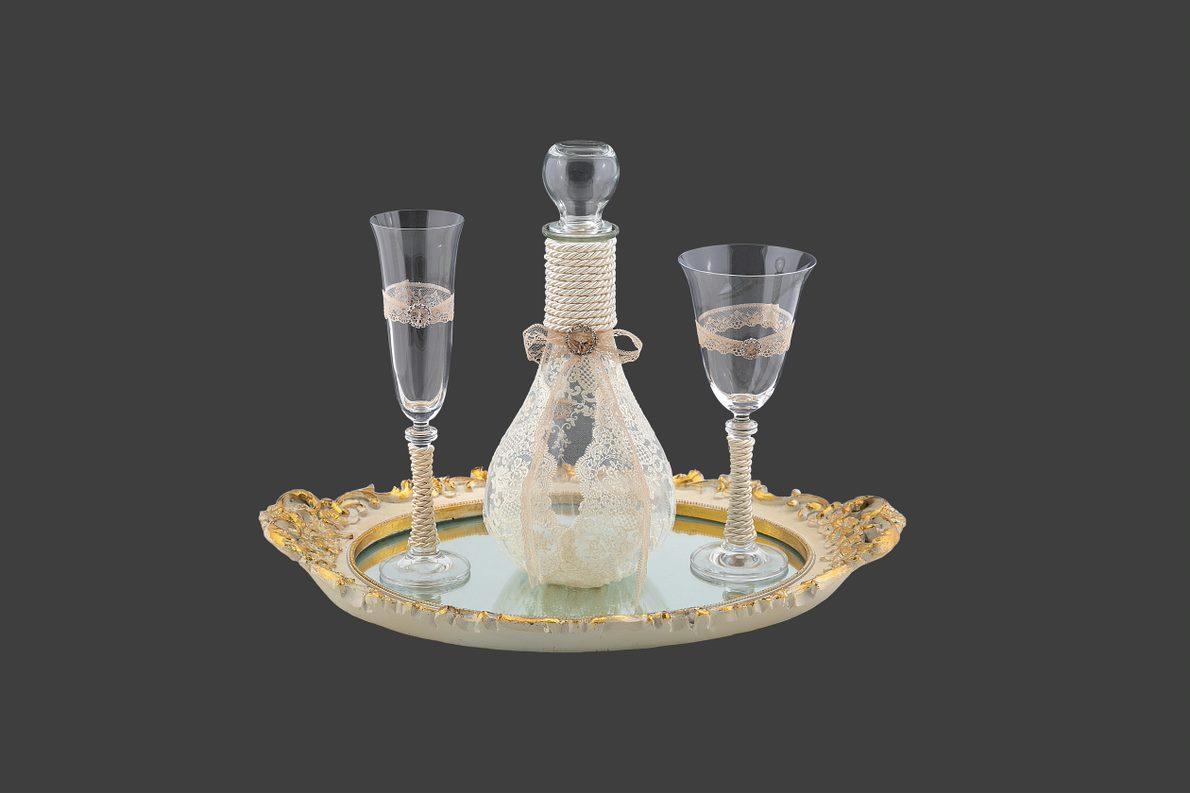 Σετ γαμου καράφα ποτήρι κρασιού σαμπάνιας σε νέο σχέδιο