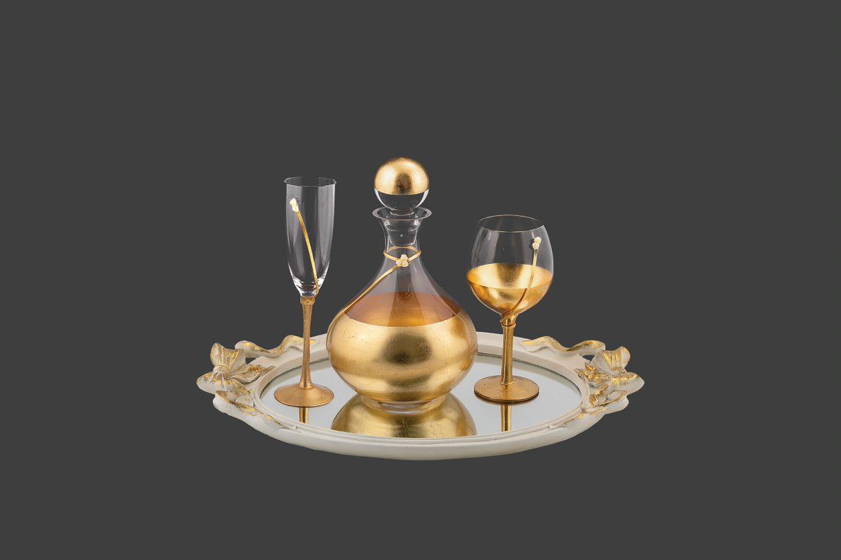 Σετ καράφα ποτήρι με φύλλα χρυσού