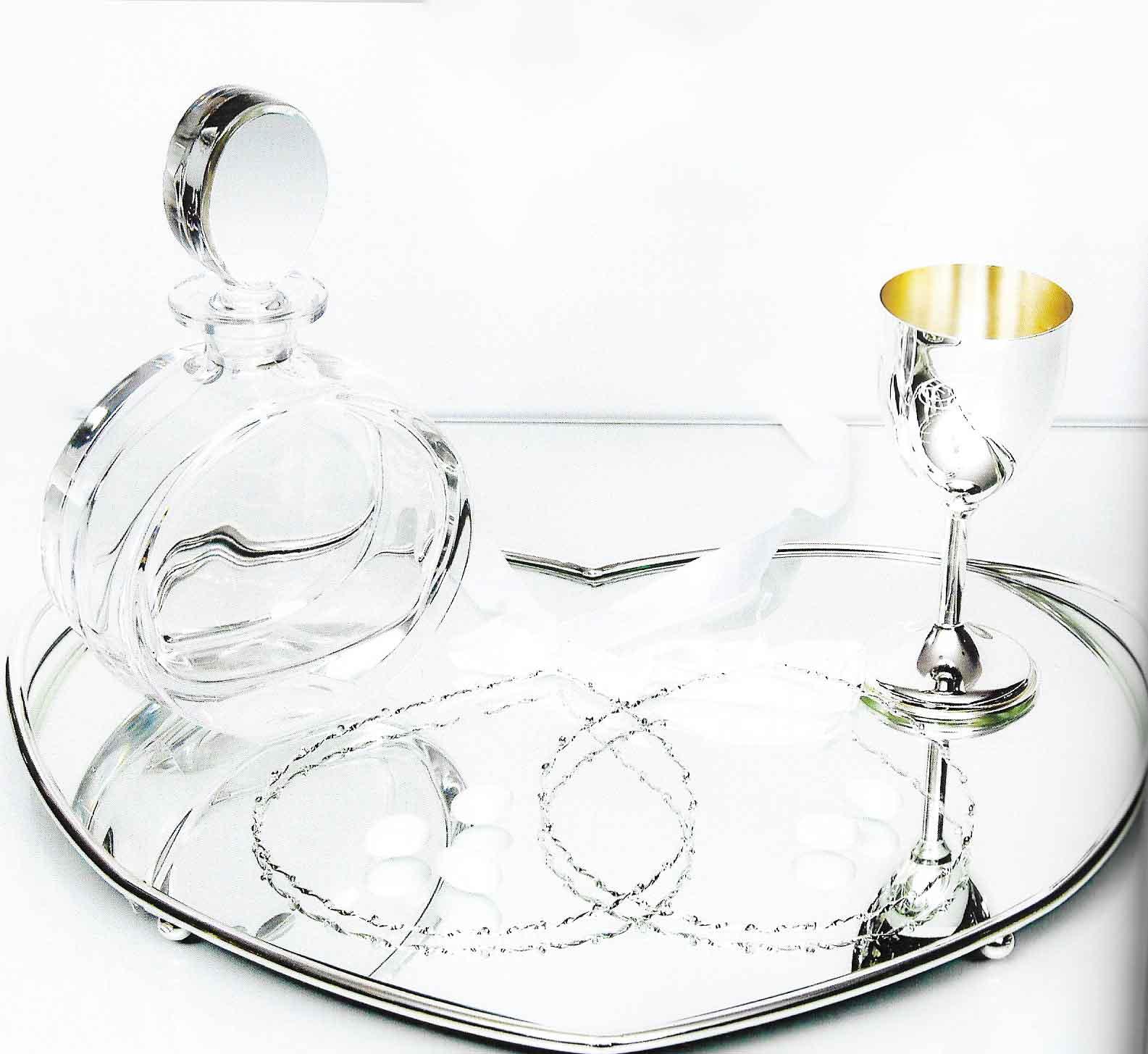 Δίσκος καρδιά με καθρέπτη σχήμα καρδίας με καράφα και ποτήρι